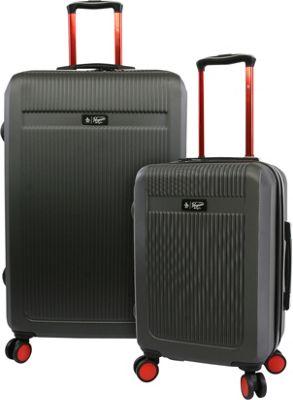 Original Penguin Luggage Penguin 2 Piece Hardside 8 Wheel Spinner Expandable Luggage Set Charcoal - Original Penguin Luggage Luggage Sets