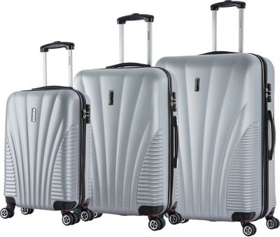 inUSA Chicago Collection 3-Piece Lightweight Hardside Spinner Luggage Set Silver - inUSA Luggage Sets