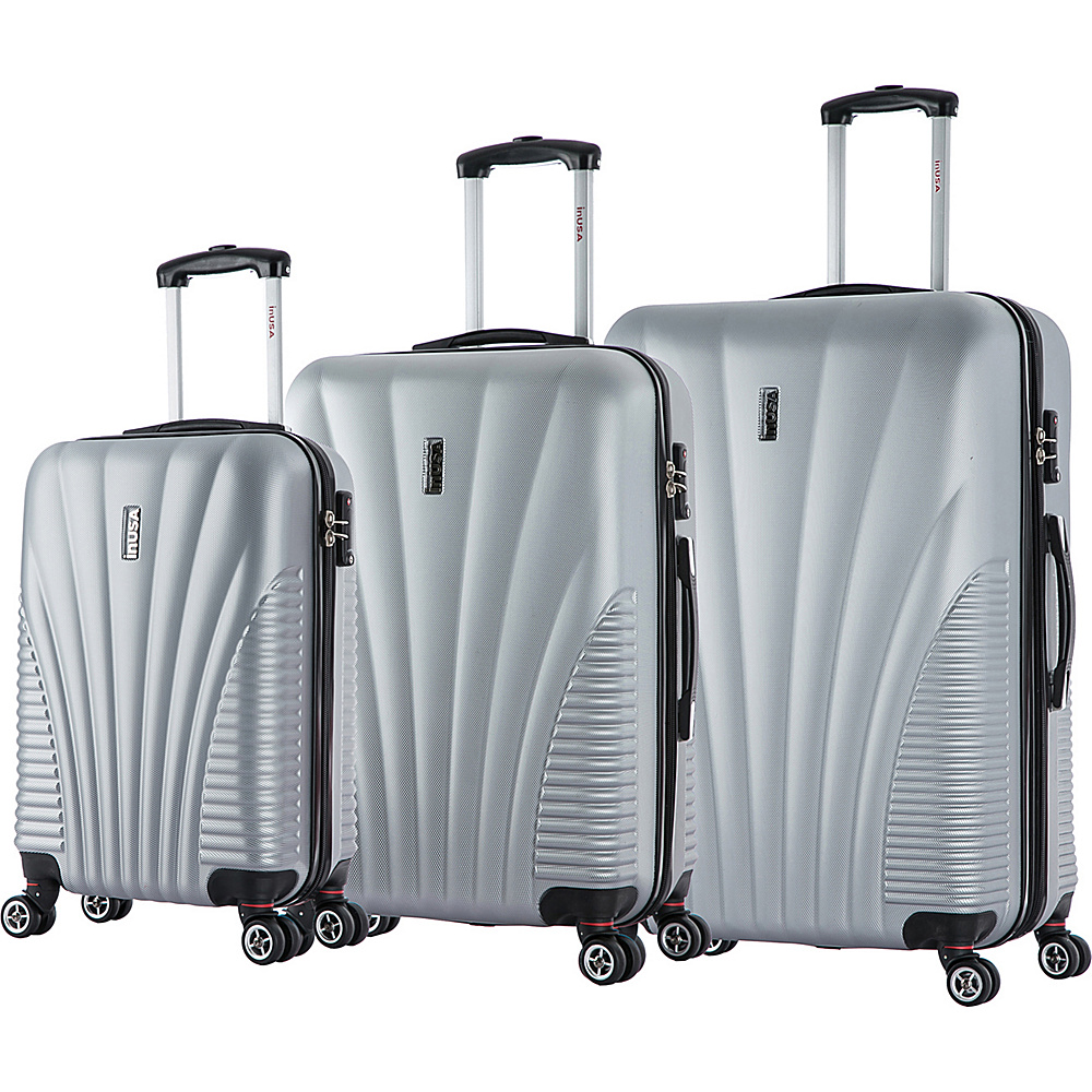 inUSA Chicago Collection 3 Piece Lightweight Hardside Spinner Luggage Set Silver inUSA Luggage Sets