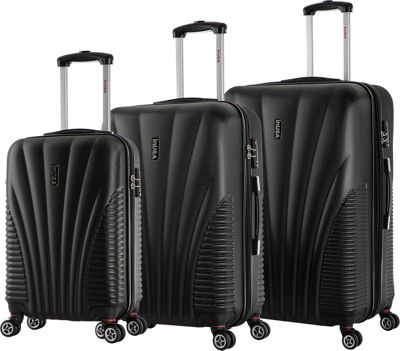 inUSA Chicago Collection 3-Piece Lightweight Hardside Spinner Luggage Set Black - inUSA Luggage Sets