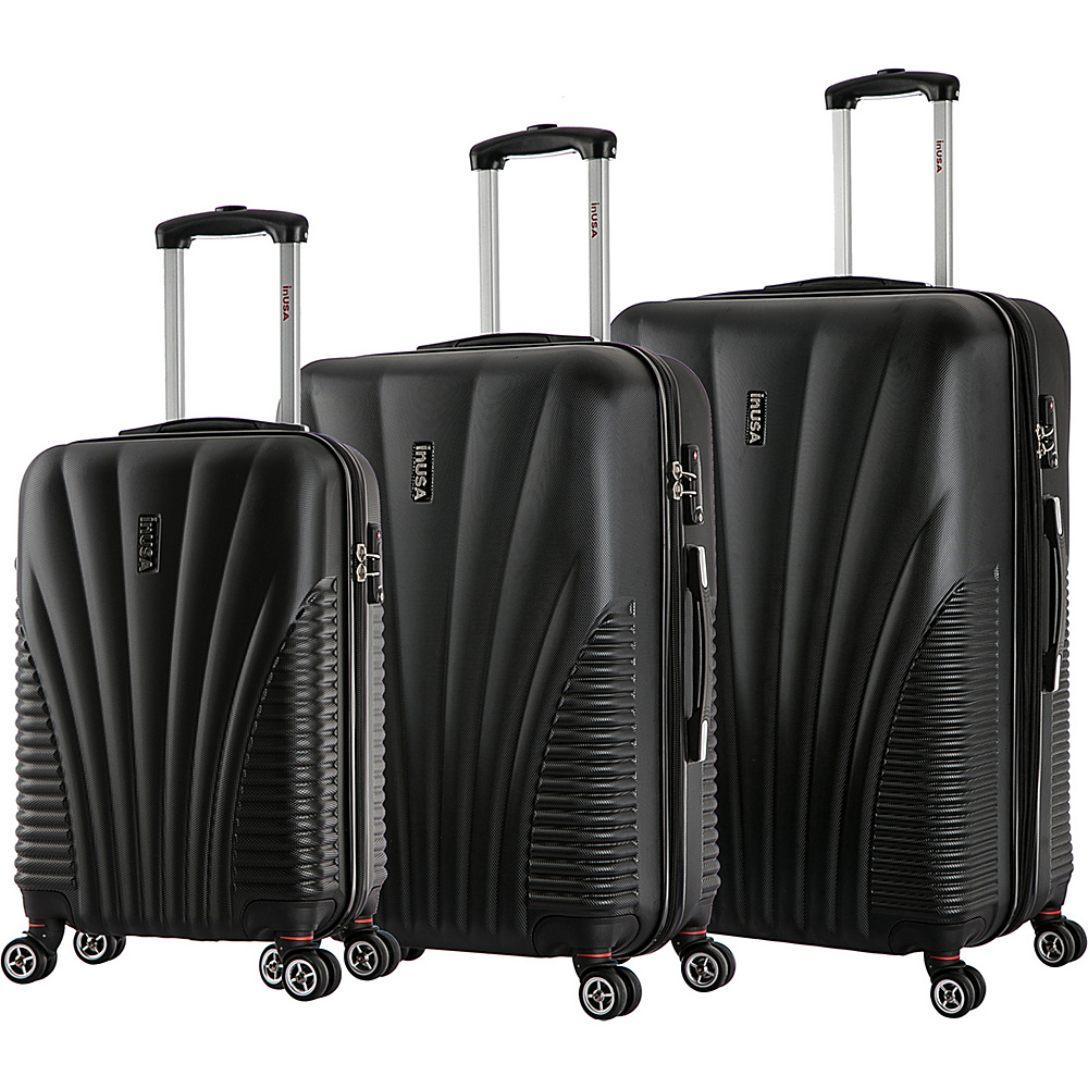 inUSA Chicago Collection 3 Piece Lightweight Hardside Spinner Luggage Set Black inUSA Luggage Sets