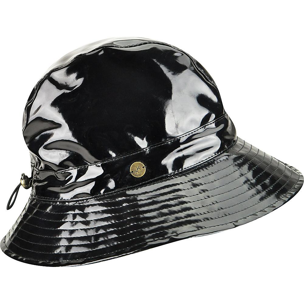 Karen Kane Hats Patent Rain Trilby Hat Black Grey Leopard Karen Kane Hats Hats Gloves Scarves