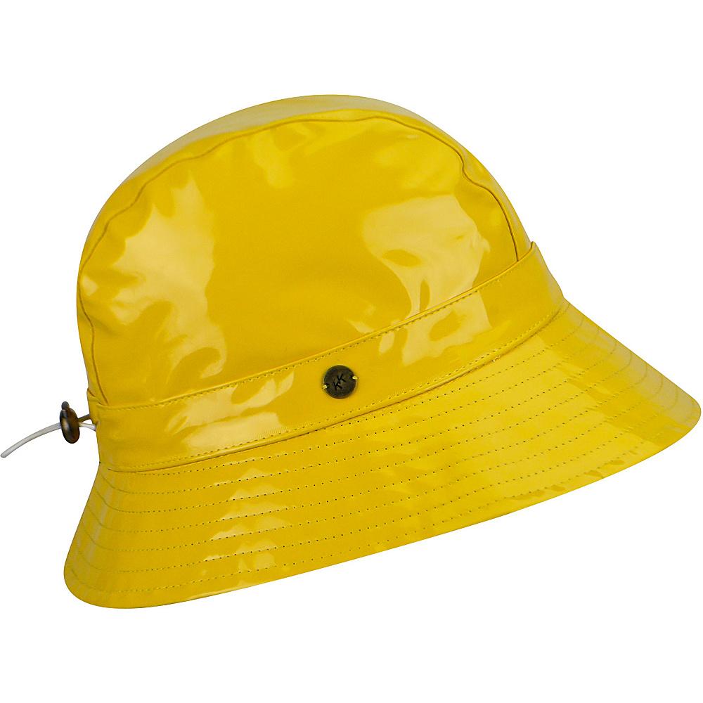 Karen Kane Hats Patent Rain Trilby Hat Canary Geo Print Karen Kane Hats Hats Gloves Scarves