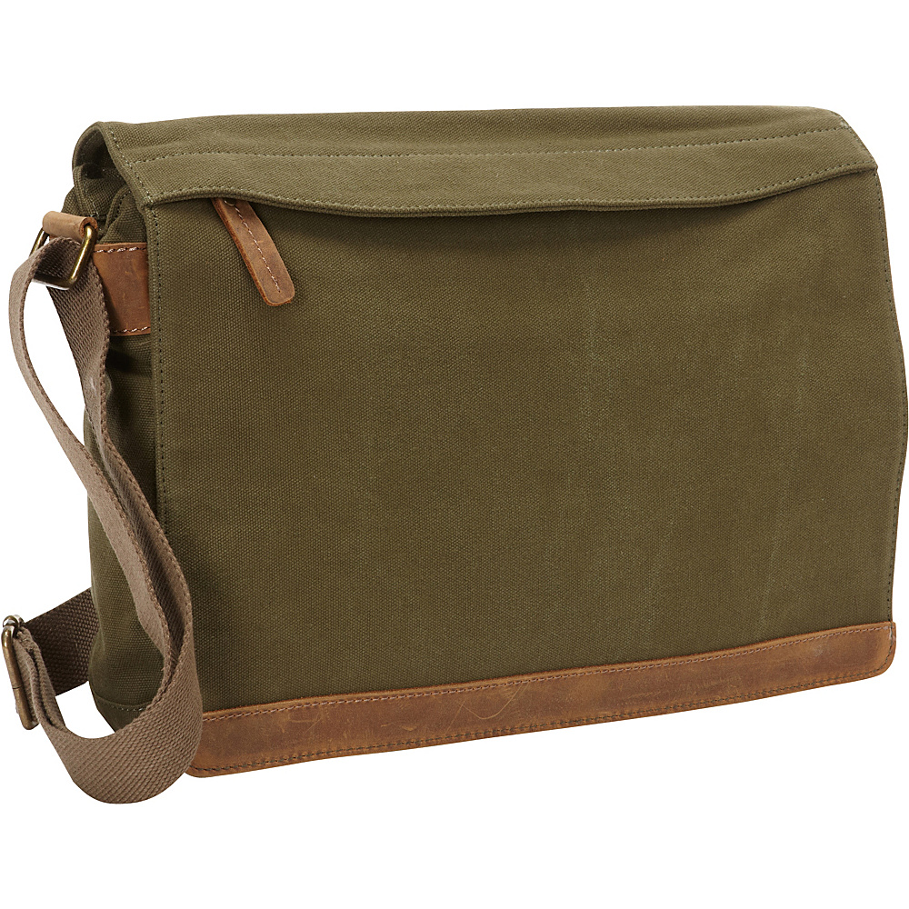Vagabond Traveler Casual Style Canvas Messenger Bag Green - Vagabond Traveler Messenger Bags - Work Bags & Briefcases, Messenger Bags