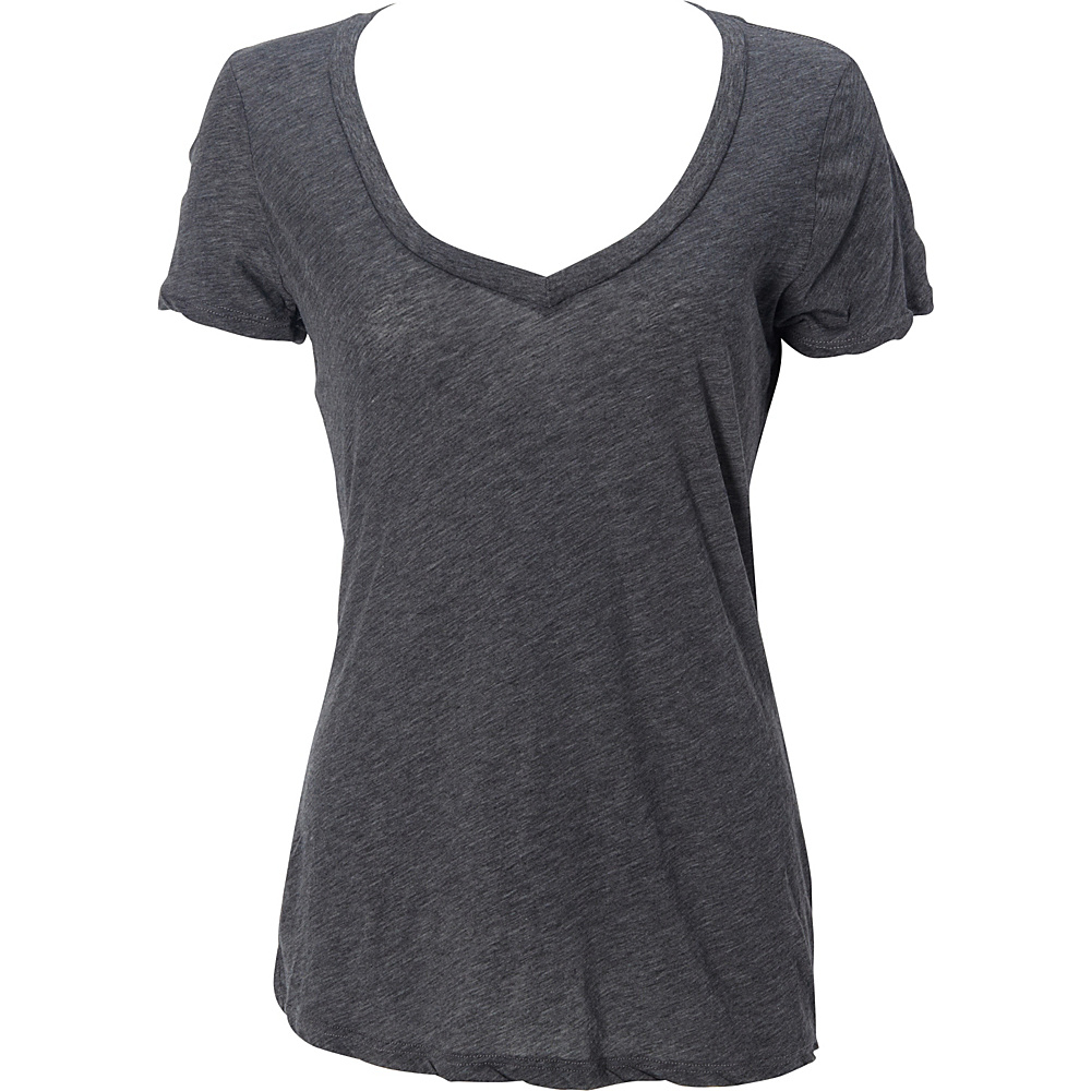 Simplex Apparel Boutique Womens Deep V Tee S - Charcoal Grey - Simplex Apparel Womens Apparel - Apparel & Footwear, Women's Apparel