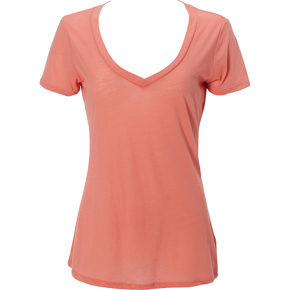 Simplex Apparel Boutique Womens Deep V Tee L - Coral - Simplex Apparel Womens Apparel - Apparel & Footwear, Women's Apparel