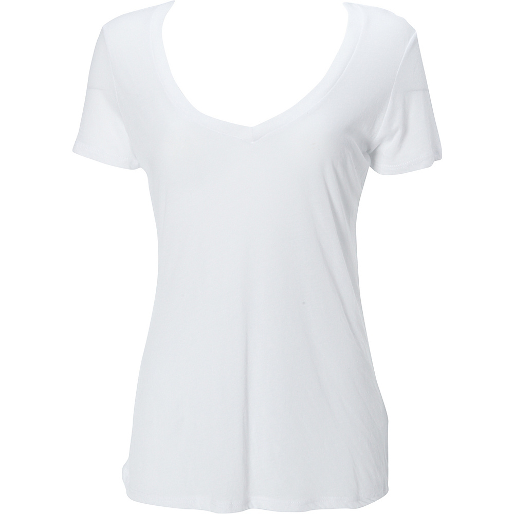 Simplex Apparel Boutique Womens Deep V Tee L - White - Simplex Apparel Womens Apparel - Apparel & Footwear, Women's Apparel