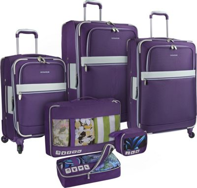 U.S. Traveler Alamosa 6-Piece Luggage Set Purple - U.S. Traveler Luggage Sets