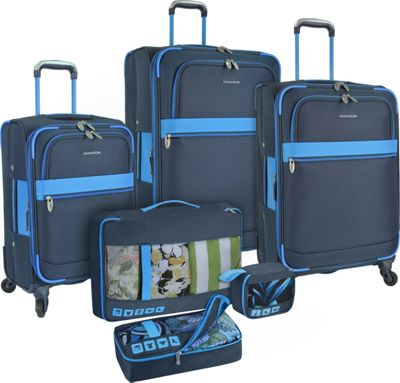 U.S. Traveler Alamosa 6-Piece Luggage Set Navy - U.S. Traveler Luggage Sets