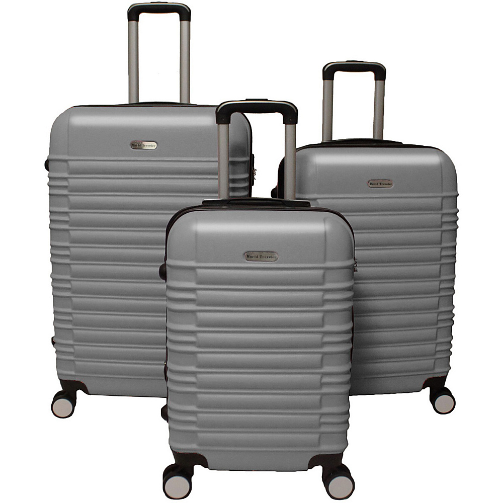 World Traveler California Hardside 3-Piece Spinner Luggage Set Silver - World Traveler Luggage Sets - Luggage, Luggage Sets