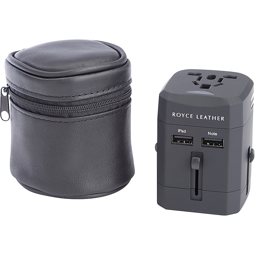 Royce Leather International Travel Adapter in Genuine Leather Carrying Case Black - Royce Leather Electronic Accessories - Technology, Electronic Accessories