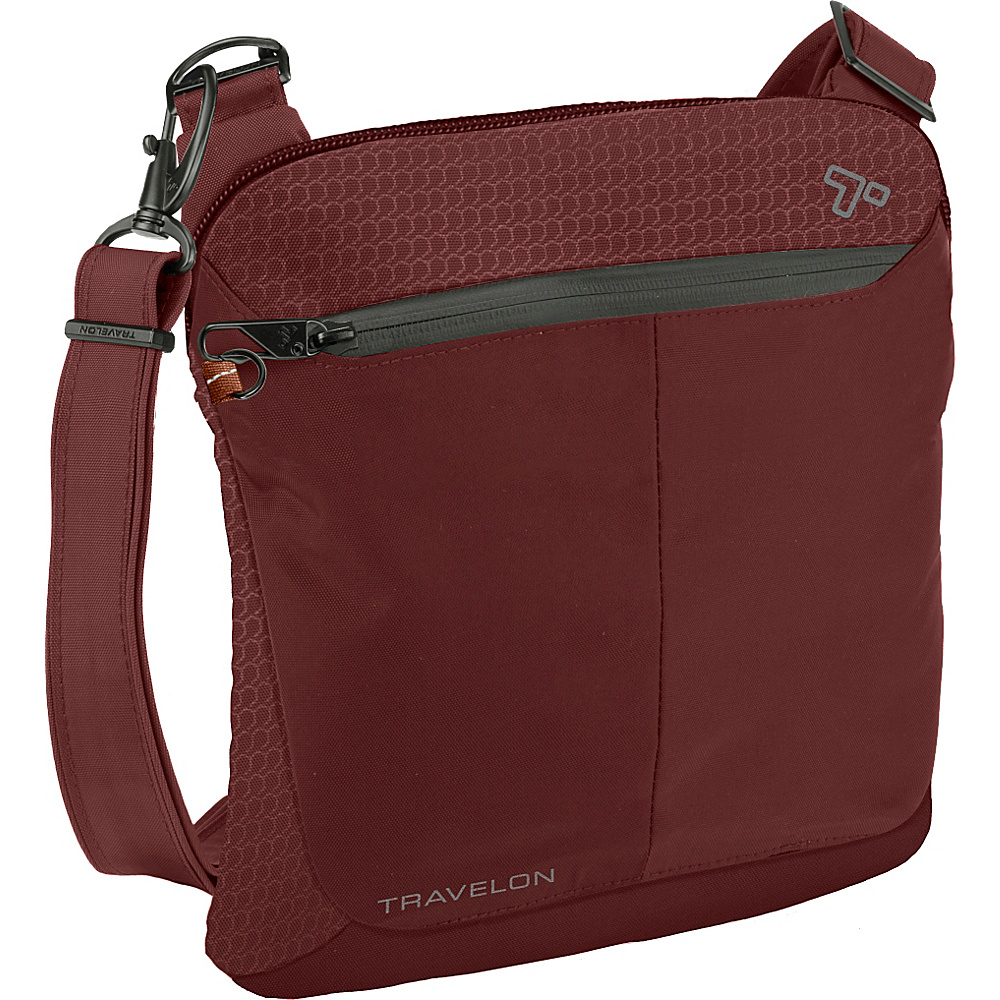 Travelon Anti-Theft Active Small Crossbody Bag Wine - Travelon Fabric Handbags - Handbags, Fabric Handbags