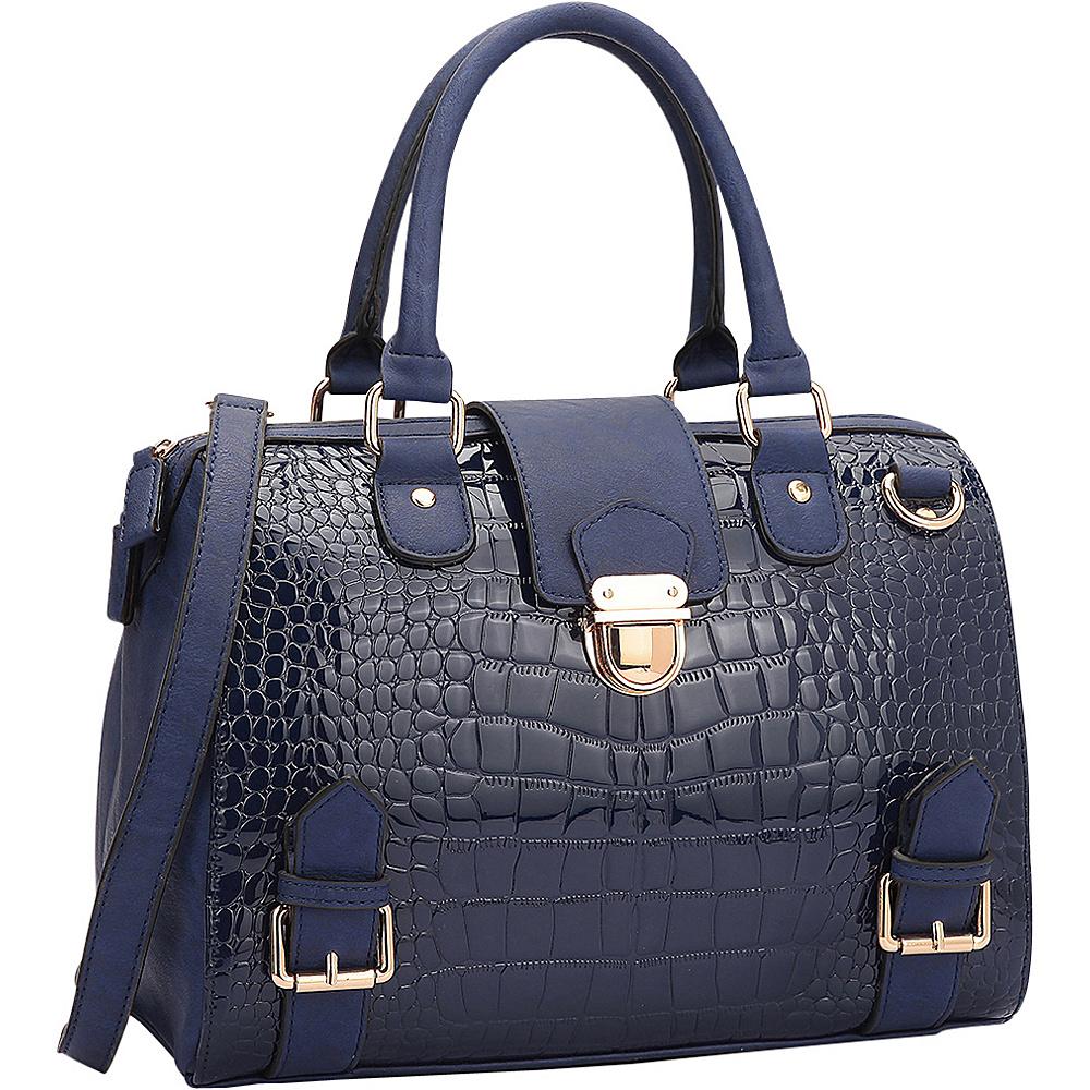 Dasein Structured Satchel with Zip Top Closure Blue - Dasein Gym Bags - Sports, Gym Bags