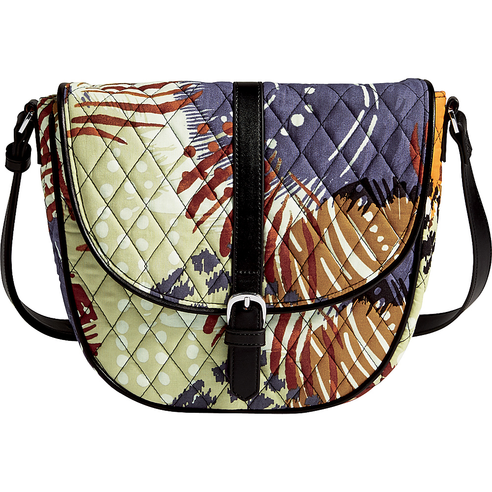 Vera Bradley Slim Saddle Bag Painted Feathers Vera Bradley Fabric Handbags