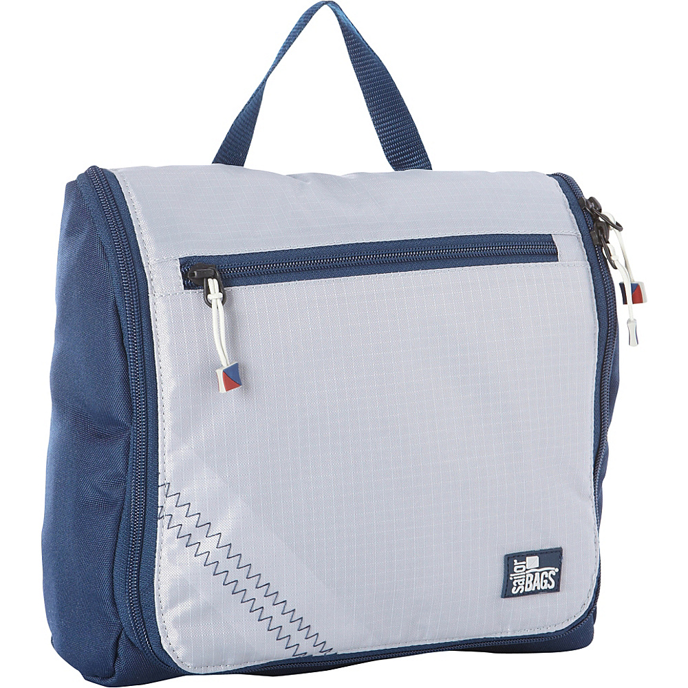 SailorBags Silver Spinnaker Sundry Bag Silver with Blue Trim SailorBags Toiletry Kits