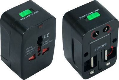 QVS Premium World Power Travel Adaptor Kit with Surge Protection Black - QVS Electronic Accessories