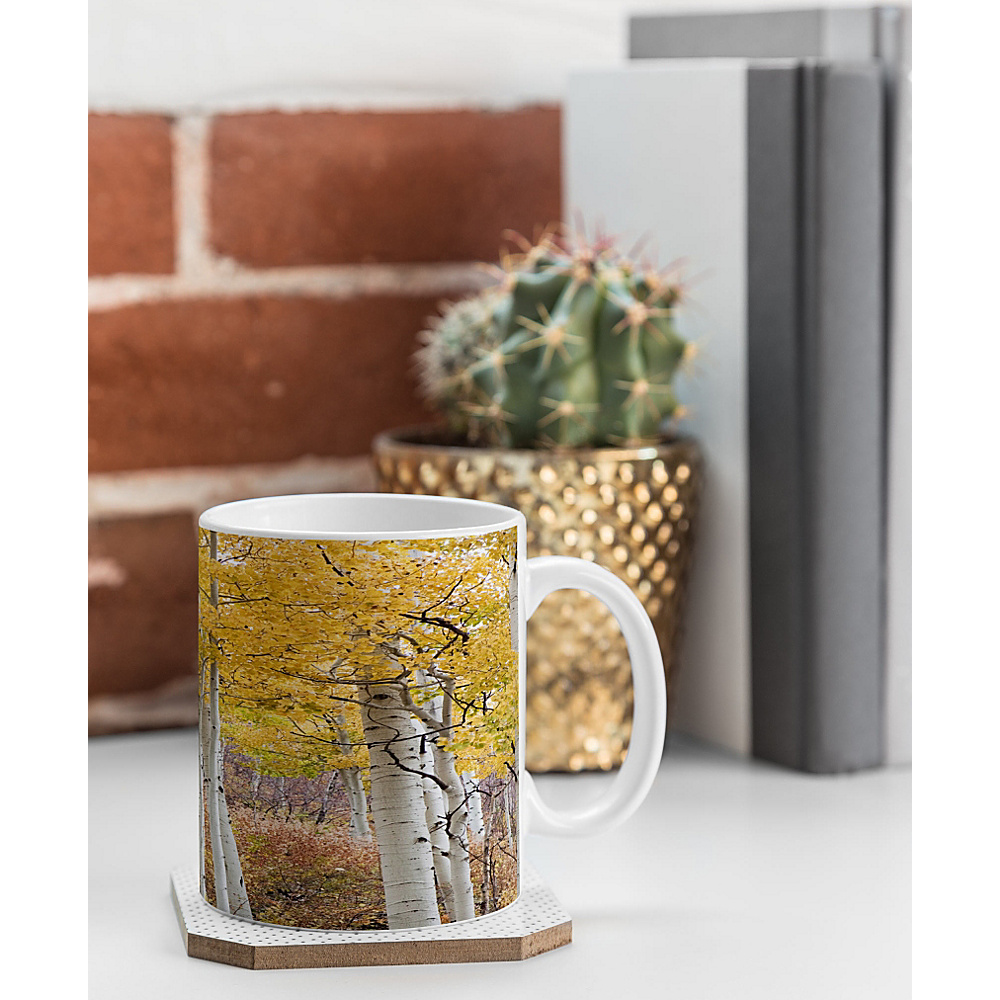 DENY Designs Barbara Sherman Coffee Mug Aspen Yellow Golden Aspens DENY Designs Outdoor Accessories