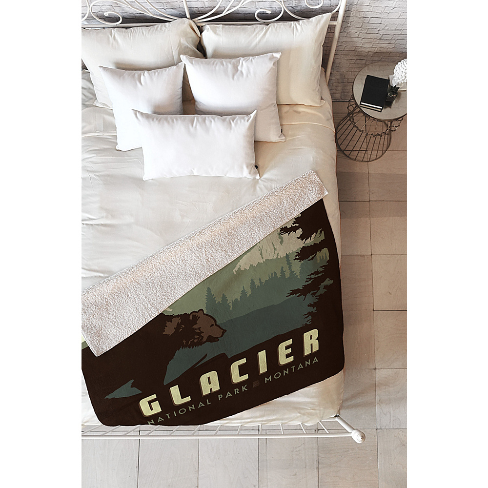 DENY Designs Anderson Design Group Sherpa Fleece Blanket Glacier Brown - Glacier National Park - DENY Designs Travel Pillows & Blankets