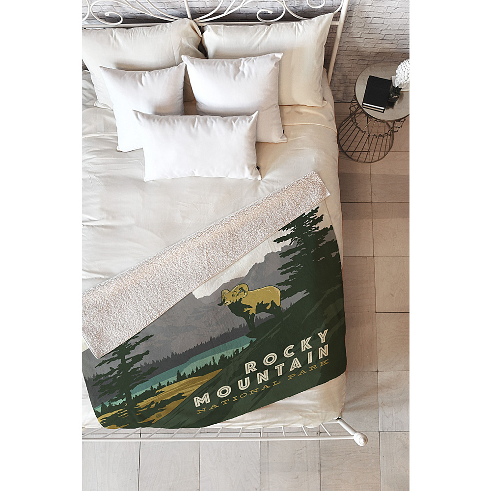 DENY Designs Anderson Design Group Sherpa Fleece Blanket Mountain Green - Rocky Mountain National Park - DENY Designs Travel Pillows & Blankets