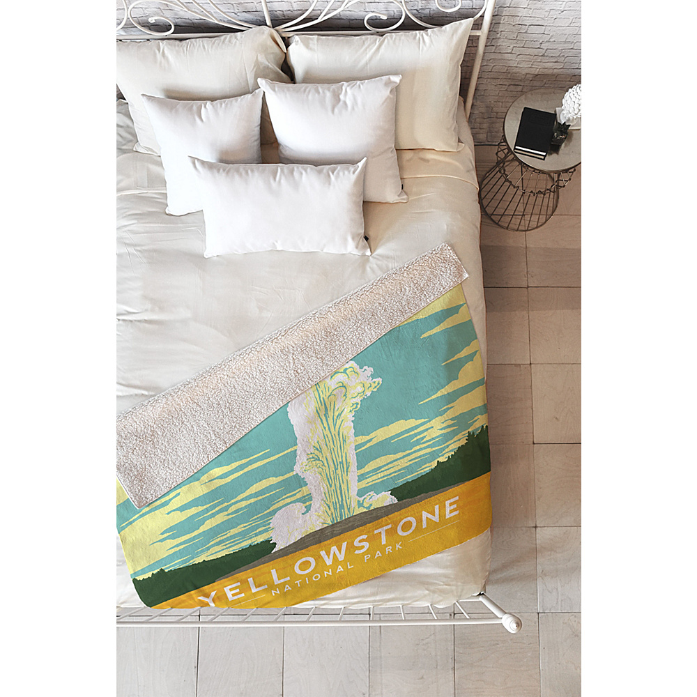 DENY Designs Anderson Design Group Sherpa Fleece Blanket Yellowstone - Yellowstone National Park - DENY Designs Travel Pillows & Blankets