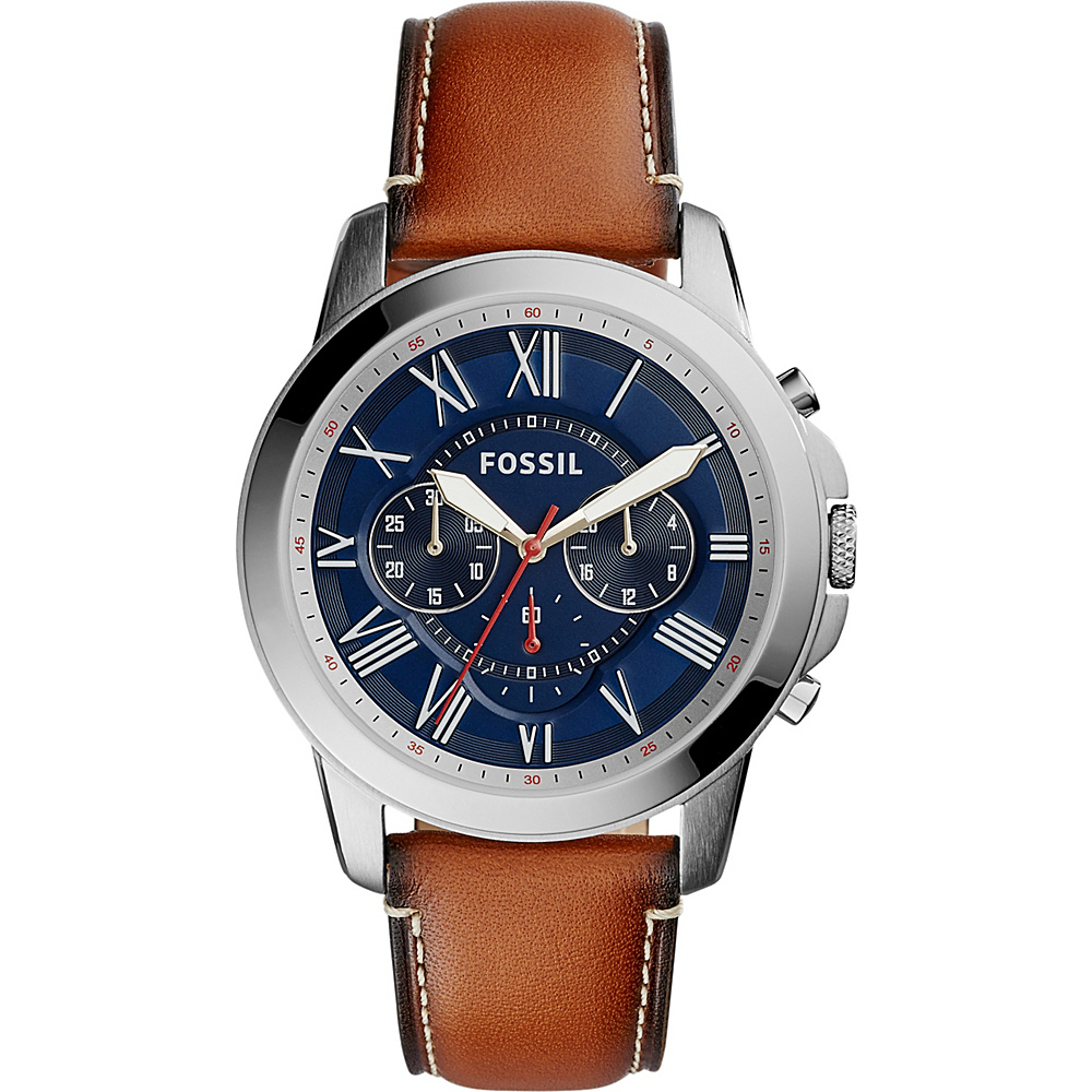 Fossil Grant Chronograph Dark Brown Leather Watch Brown/Blue - Fossil Watches - Fashion Accessories, Watches