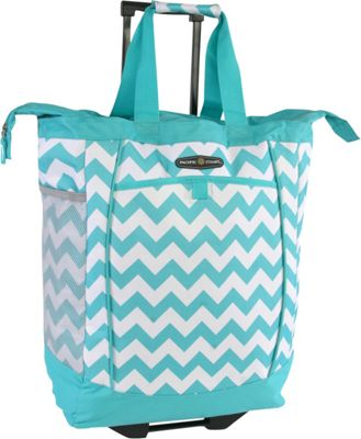 Pacific Coast Rolling Shopping Tote Bag Cheveron Teal - Pacific Coast All-Purpose Totes