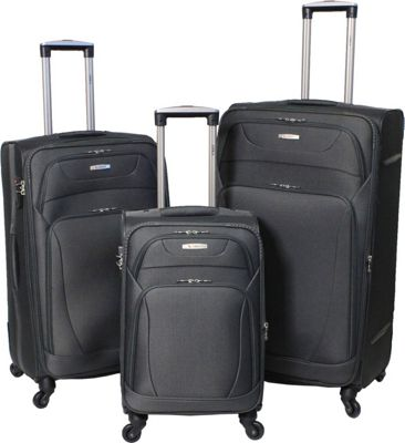 Amka Millennium 3-Piece Expandable Spinner Luggage Set Grey - Amka Luggage Sets