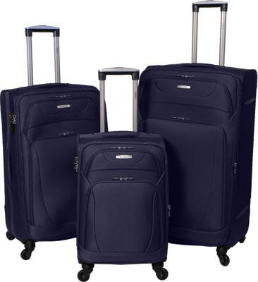 Amka Millennium 3-Piece Expandable Spinner Luggage Set Navy - Amka Luggage Sets