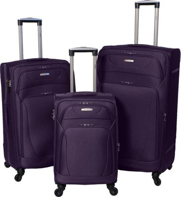 Amka Millennium 3-Piece Expandable Spinner Luggage Set Purple - Amka Luggage Sets
