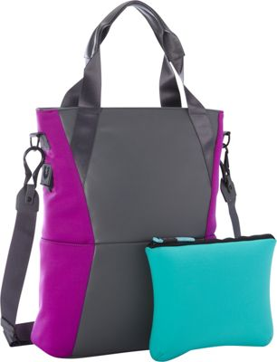 M-Edge Tech Tote with with Battery Grey/Purple - M-Edge Women's Business Bags