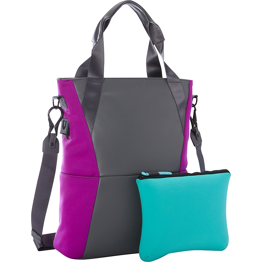 M Edge Tech Tote with with Battery Grey Purple M Edge Women s Business Bags