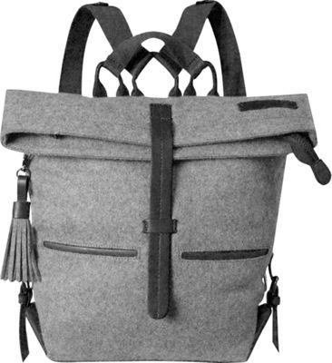 Sherpani Amelia Backpack Boiled Wool Genuine Leather Everyday Bag Slate - Sherpani Everyday Backpacks