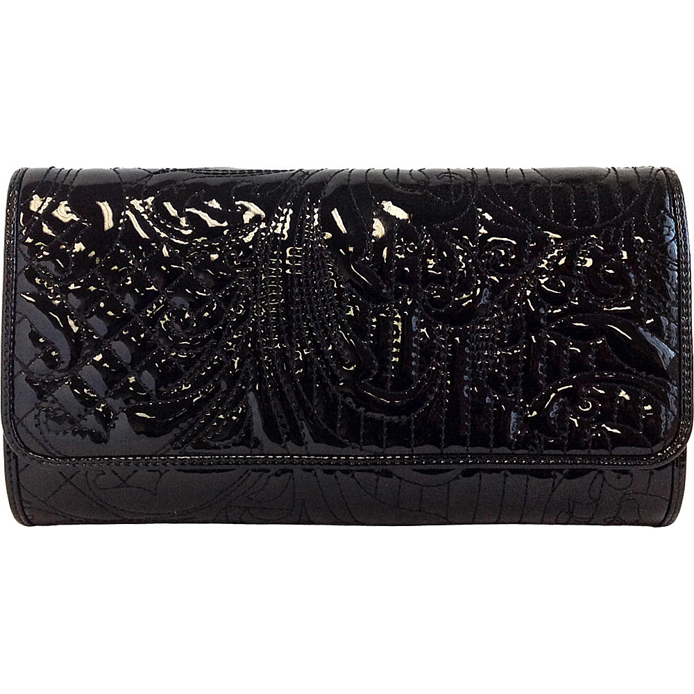 JNB Embroidered Patent Leather Clutch Black JNB Manmade Handbags