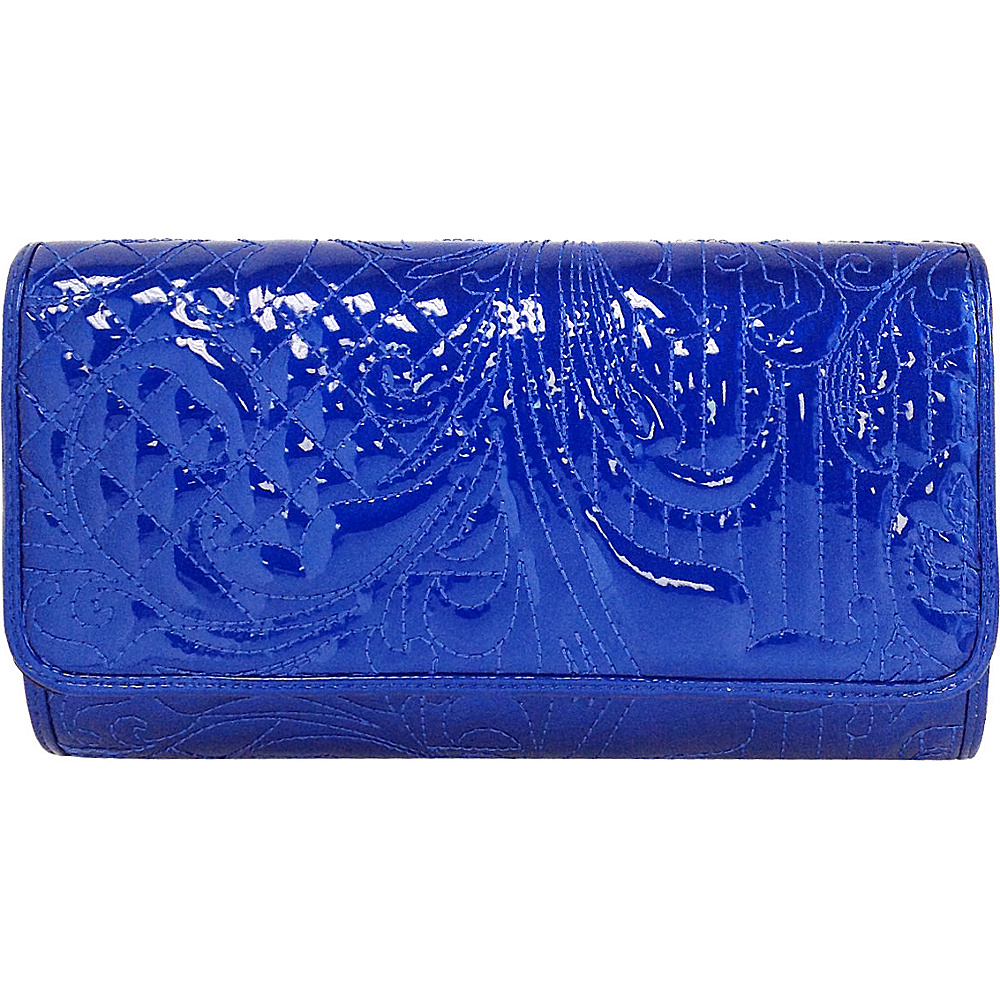 JNB Embroidered Patent Leather Clutch Royal Blue JNB Manmade Handbags