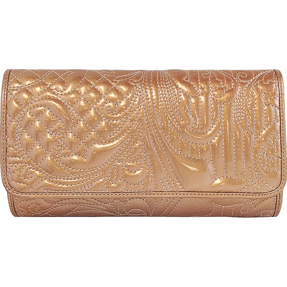 JNB Embroidered Patent Leather Clutch Tan JNB Manmade Handbags