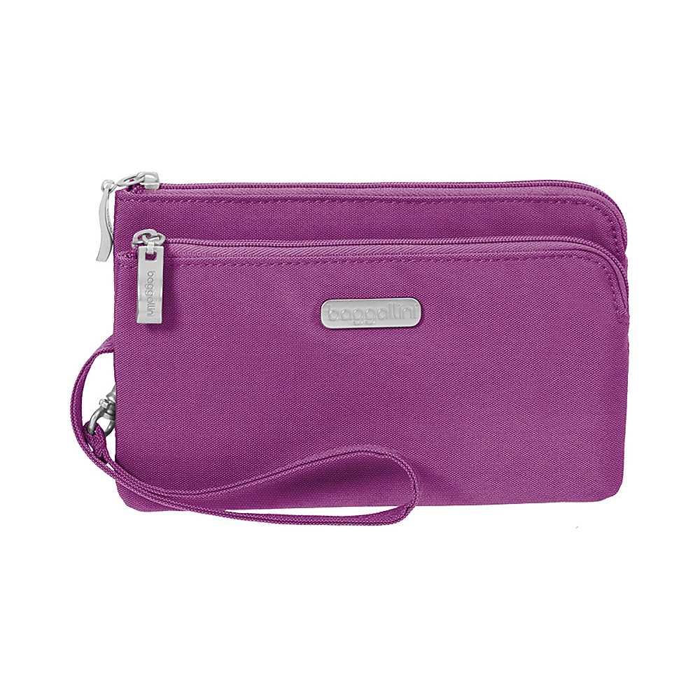 baggallini RFID Double Zip Wristlet - Retired Colors Magenta - baggallini Fabric Handbags - Handbags, Fabric Handbags