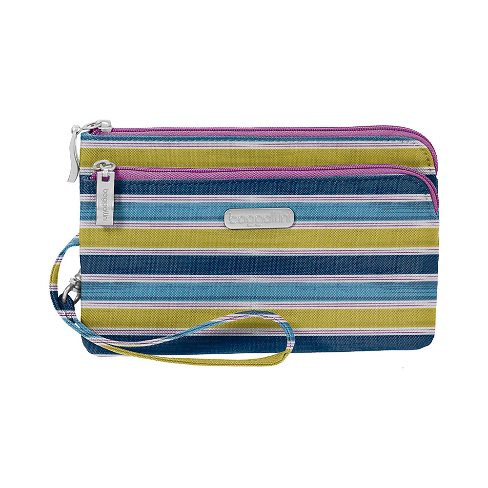 baggallini RFID Double Zip Wristlet - Retired Colors Tropical Stripe - baggallini Fabric Handbags - Handbags, Fabric Handbags