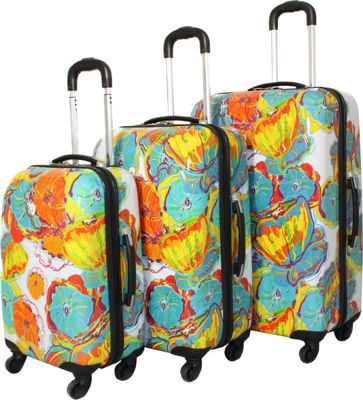 Dejuno Dejuno Flowers 3-Piece Lightweight Hardside Luggage Set Peony - Dejuno Luggage Sets