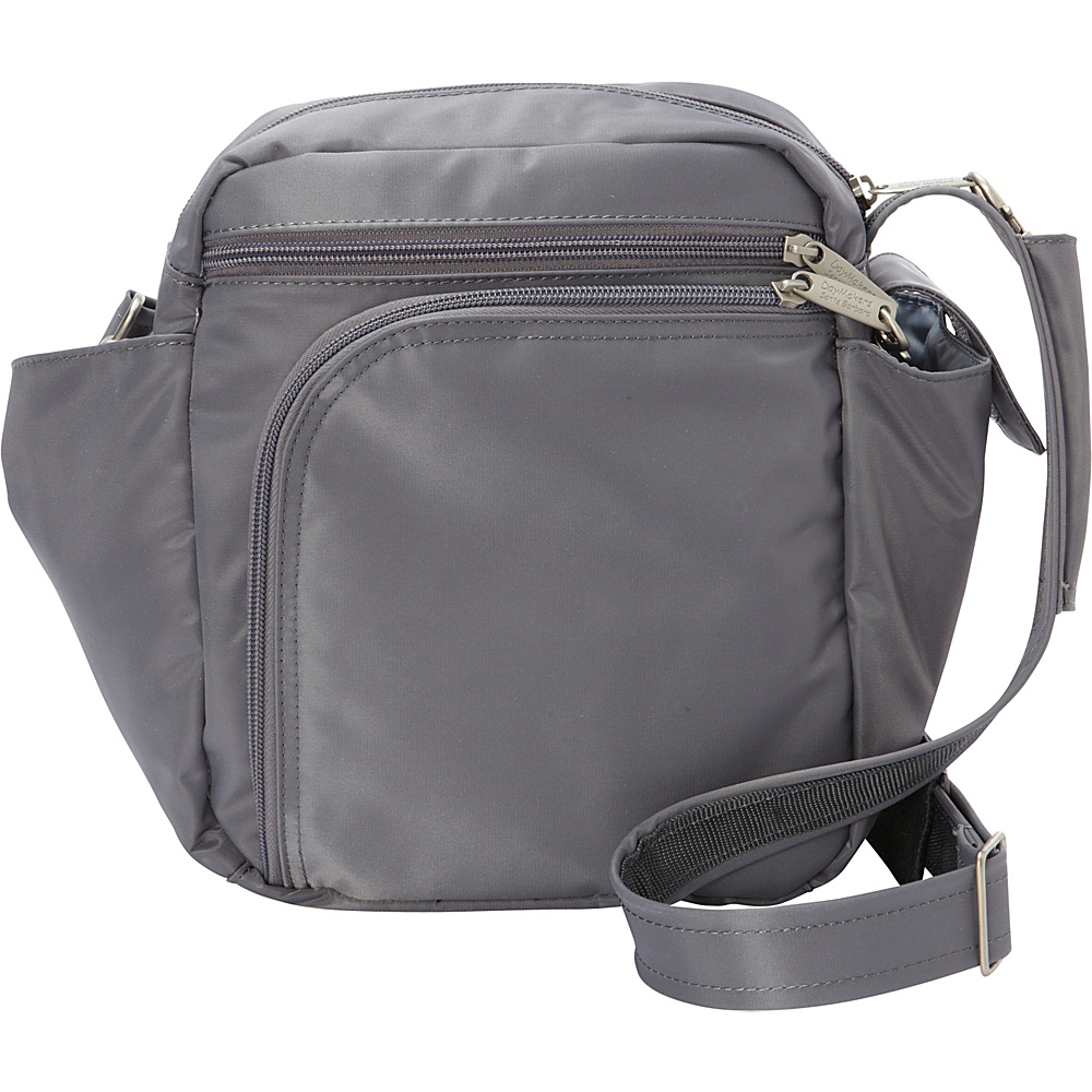 BeSafe by DayMakers RFID Smart Traveler 10 LX Shoulder Bag Pewter BeSafe by DayMakers Fabric Handbags