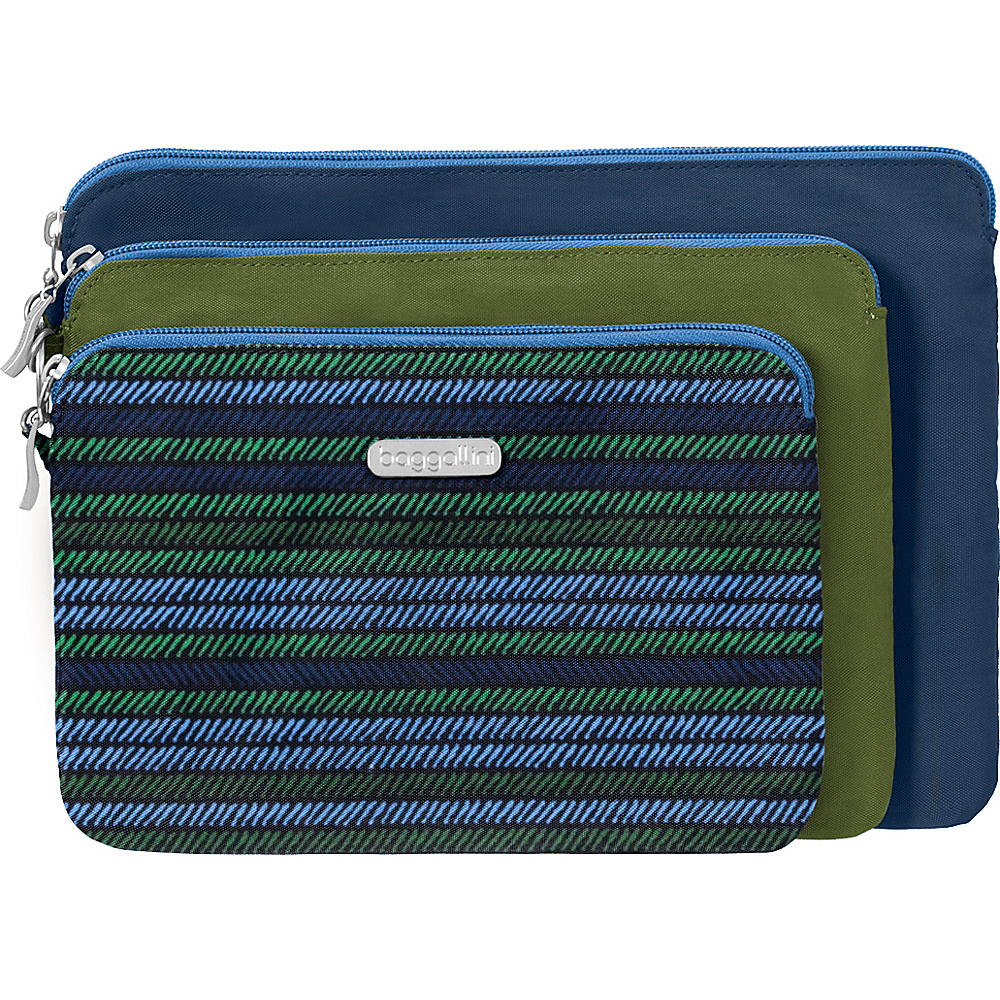 baggallini 3 Pouch Travel Set Moss Stripe Multi - baggallini Womens SLG Other - Women's SLG, Women's SLG Other