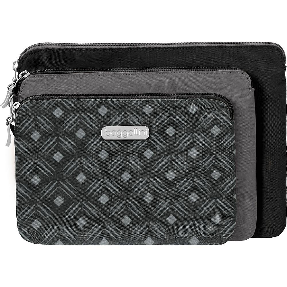 baggallini 3 Pouch Travel Set Black Diamond Print Multi - baggallini Womens SLG Other - Women's SLG, Women's SLG Other