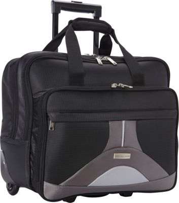 Geoffrey Beene Luggage Tech Rolling Business Case Black and Gray - Geoffrey Beene Luggage Wheeled Business Cases