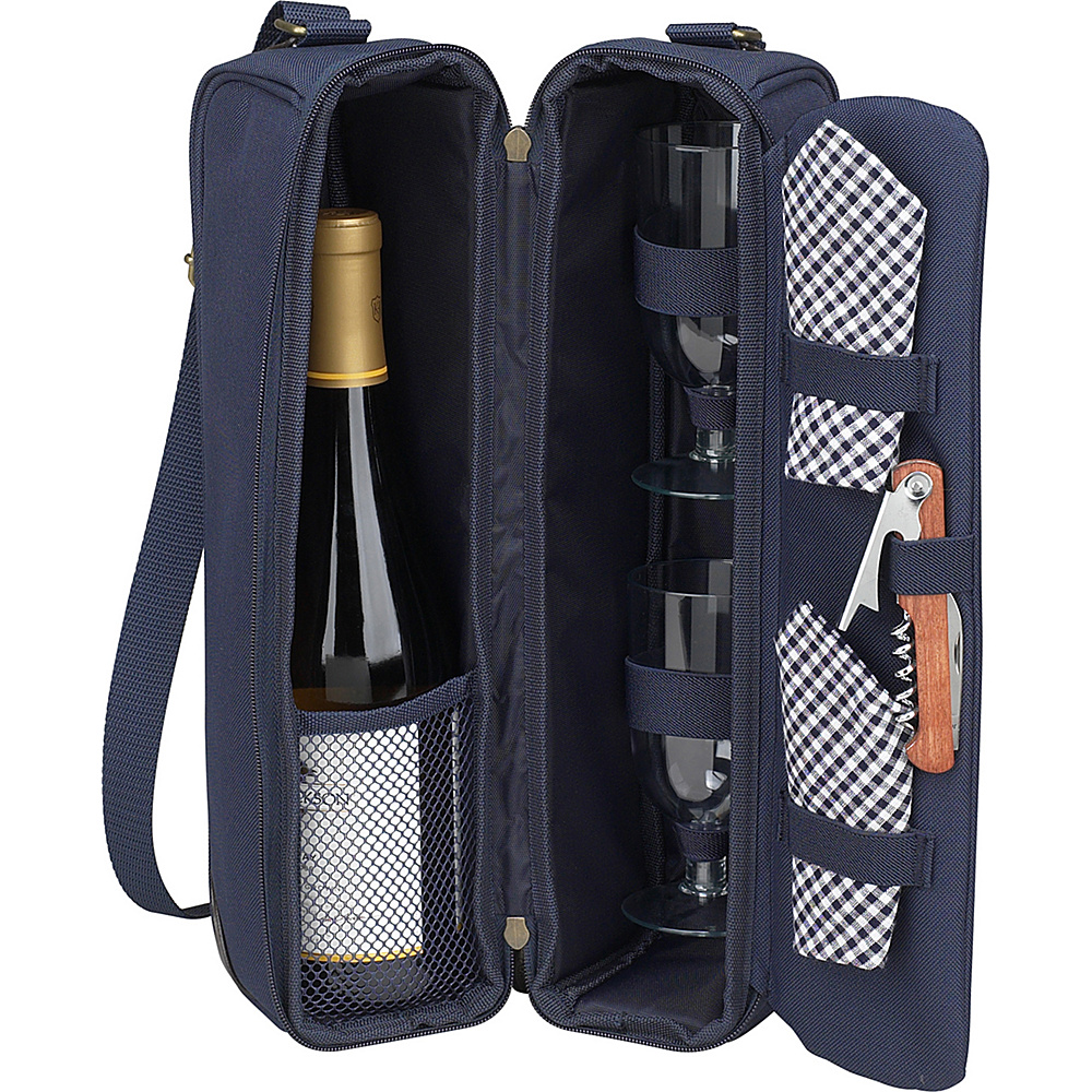 Picnic at Ascot Deluxe Insulated Wine Tote with 2 Wine Glasses, Napkins and Corkscrew Navy/Gingham - Picnic at Ascot Outdoor Accessories - Outdoor, Outdoor Accessories