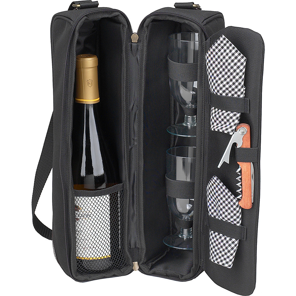 Picnic at Ascot Deluxe Insulated Wine Tote with 2 Wine Glasses, Napkins and Corkscrew Black/Gingham - Picnic at Ascot Outdoor Accessories - Outdoor, Outdoor Accessories