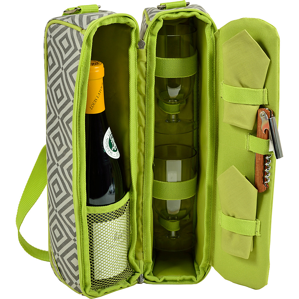Picnic at Ascot Deluxe Insulated Wine Tote with 2 Wine Glasses, Napkins and Corkscrew Granite Grey /Green - Picnic at Ascot Outdoor Accessories - Outdoor, Outdoor Accessories