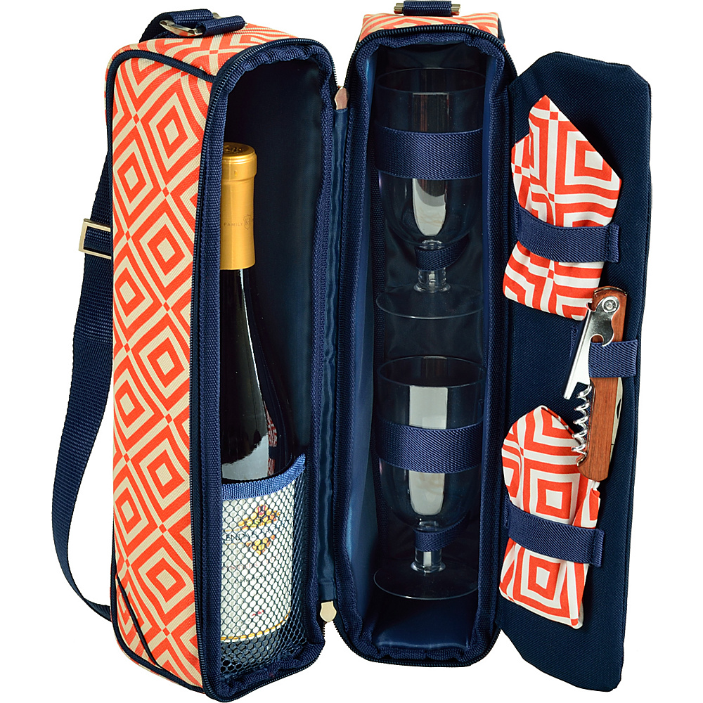 Picnic at Ascot Deluxe Insulated Wine Tote with 2 Wine Glasses, Napkins and Corkscrew Orange/Navy - Picnic at Ascot Outdoor Accessories - Outdoor, Outdoor Accessories