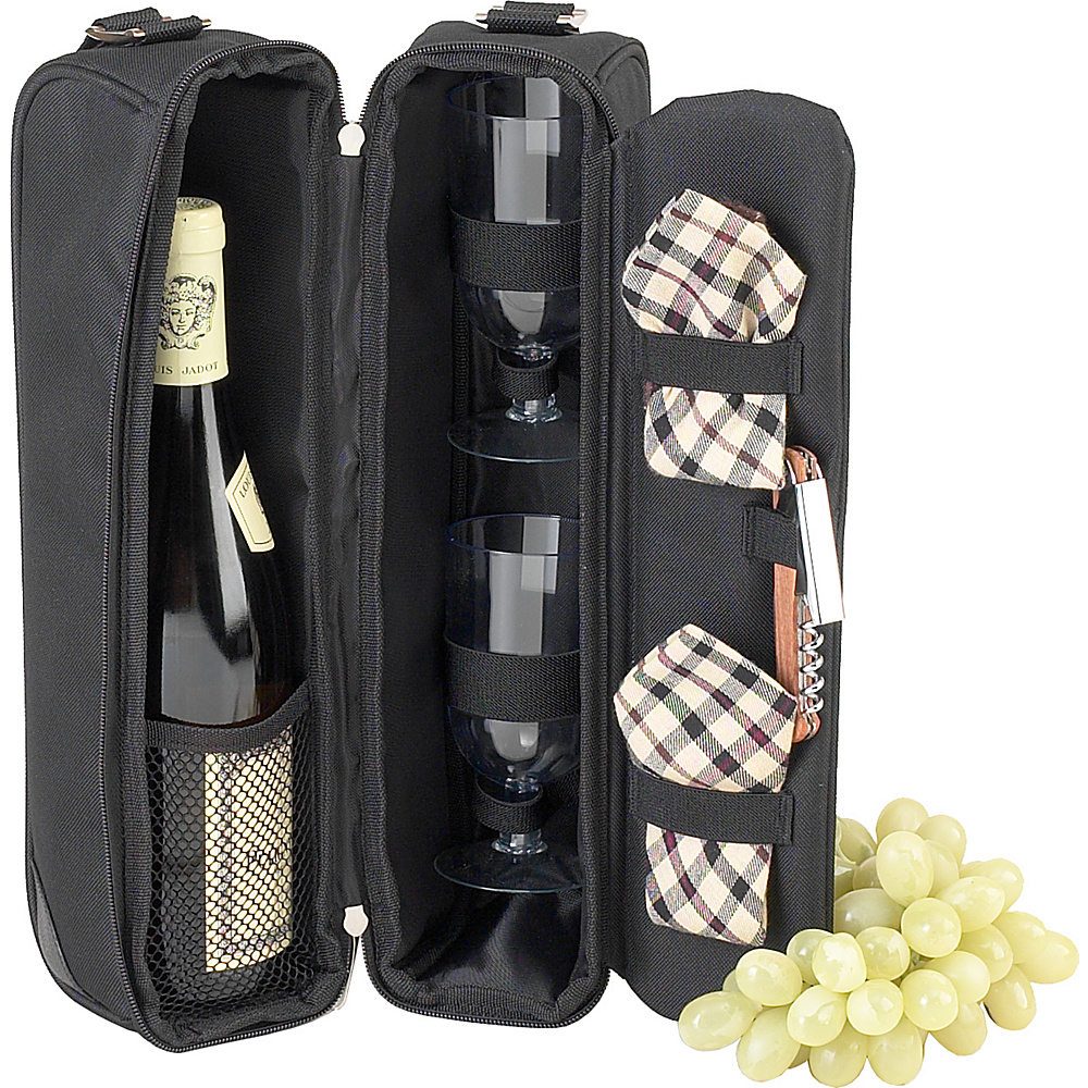 Picnic at Ascot Deluxe Insulated Wine Tote with 2 Wine Glasses, Napkins and Corkscrew Black w/London Plaid - Picnic at Ascot Outdoor Accessories - Outdoor, Outdoor Accessories