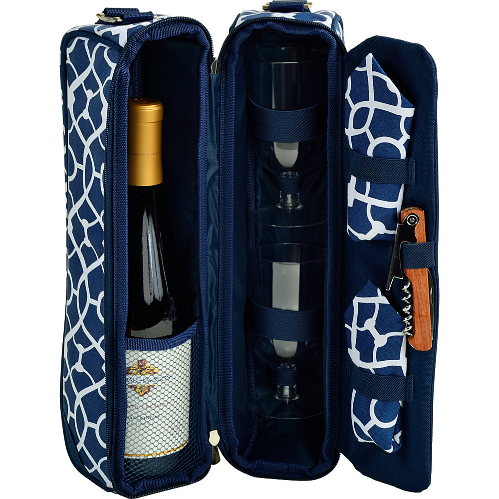 Picnic at Ascot Deluxe Insulated Wine Tote with 2 Wine Glasses, Napkins and Corkscrew Trellis Blue - Picnic at Ascot Outdoor Accessories - Outdoor, Outdoor Accessories