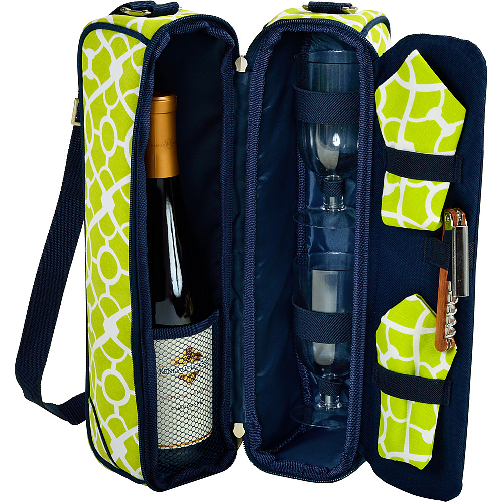 Picnic at Ascot Deluxe Insulated Wine Tote with 2 Wine Glasses, Napkins and Corkscrew Trellis Green - Picnic at Ascot Outdoor Accessories - Outdoor, Outdoor Accessories