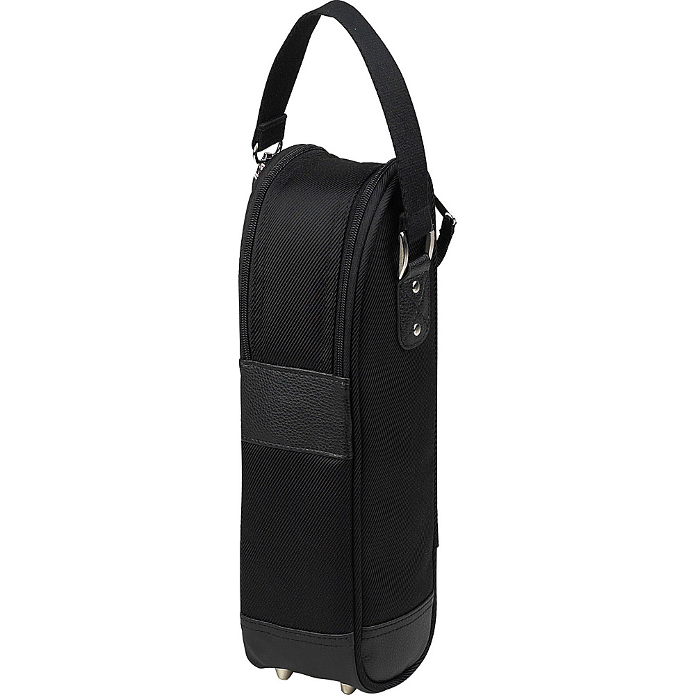 Picnic at Ascot Stylish One Bottle Wine Tote Bag Tone on Tone Black - Picnic at Ascot Outdoor Coolers - Outdoor, Outdoor Coolers